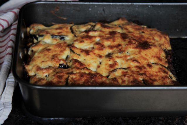 Moussaka - eggplant casserole - keto, low carb and gluten free - recipe by Christy Brissette media registered dietitian nutritionist in Chicago - president of 80 Twenty Nutrition