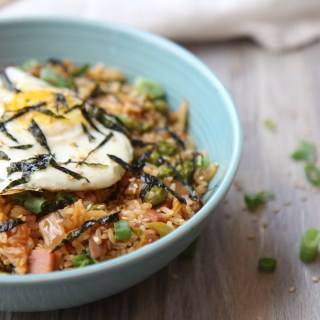 Kimchi fried rice with egg and ham - gluten-free - best healthy kimchi rice recipe by media registered dietitian nutritionist Christy Brissette RD in Chicago 80 Twenty Nutrition