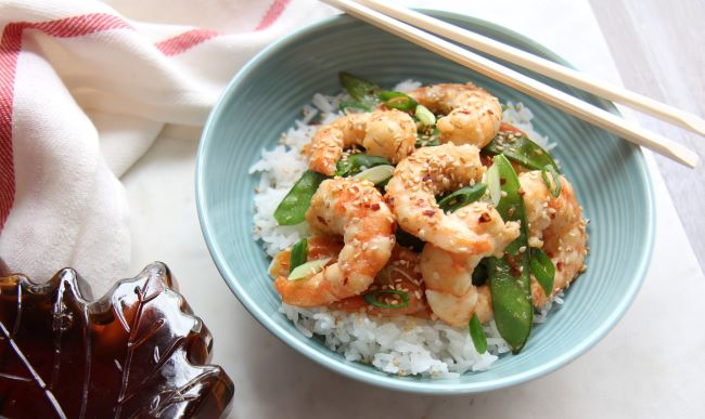 Maple Ginger Shrimp Stir Fry with Carrots and Snow Peas on Jasmine Rice