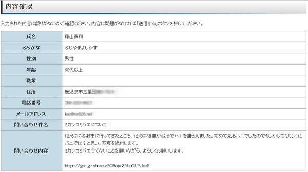 鹿児島県のホームページ問い合わせフォームの確認画面