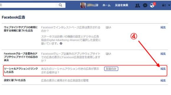 Facebook広告の設定画面