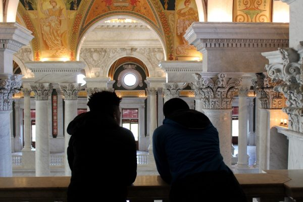 Brookland Middle School scholars from the 826DC Young Authors' Book Project look out over the Library of Congress.