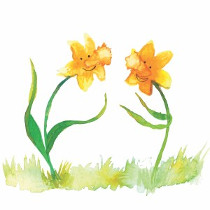 Two smiling daffodils