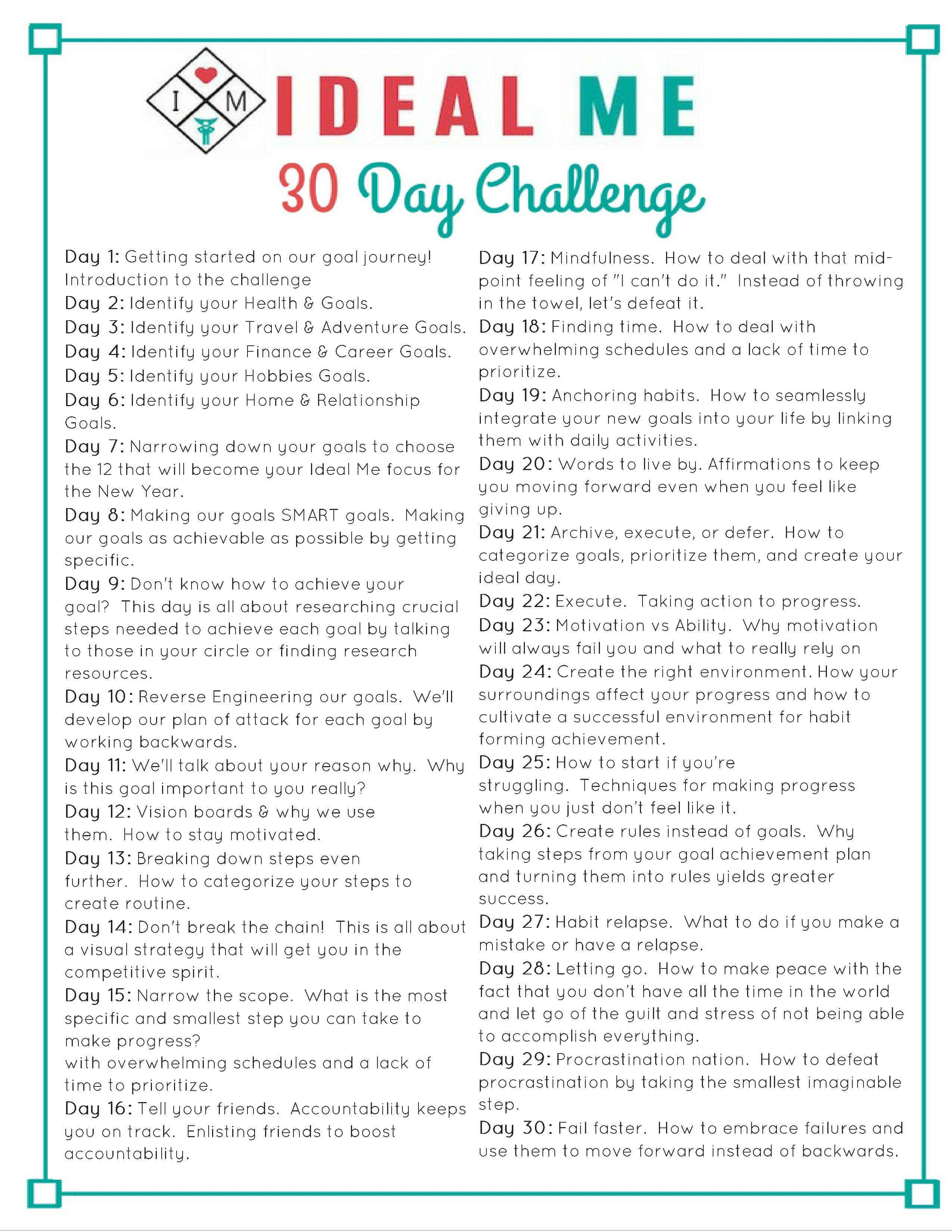 Introducing The 30 Day Ideal Me Challenge