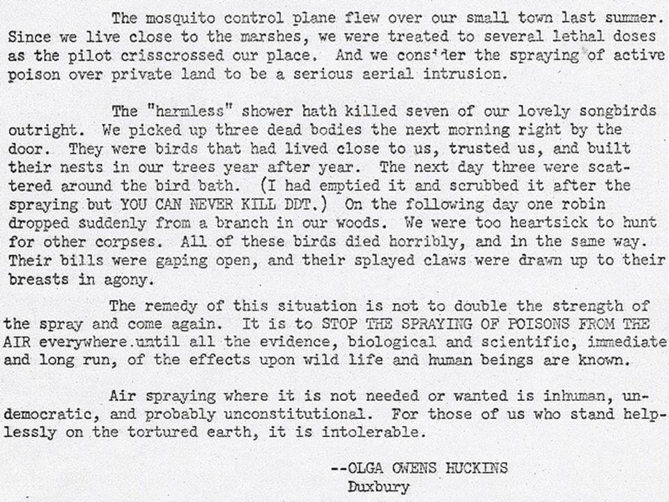 Text of letter to the editor by birdwatcher Olga Owens Huckins, published in the Boston Herald on January 30, 1958. The letter sparked naturalist and author Rachel Carson to open a file on pesticides, which she eventually turned into Silent Spring. Image from Weebly