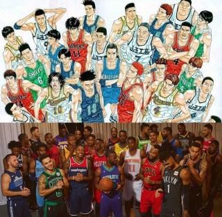 スラムダンク アングル NBA ユニフォーム 集合写真