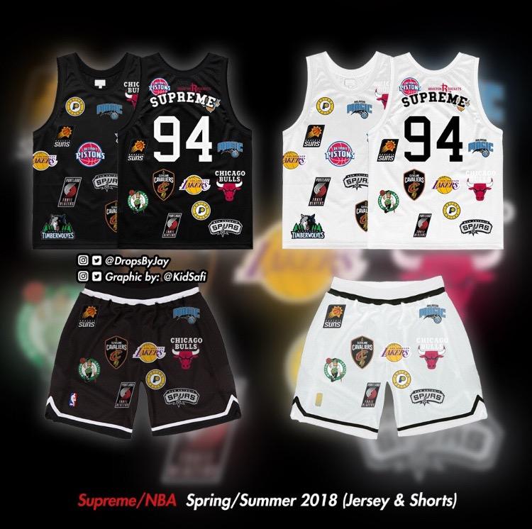 シュプリーム x ナイキ x NBA ジャージー ショーツ モックアップ