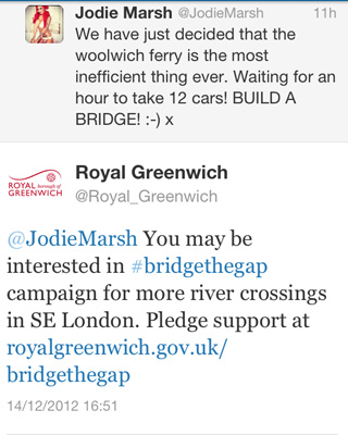 Greenwich Council tweets to Jodie Marsh