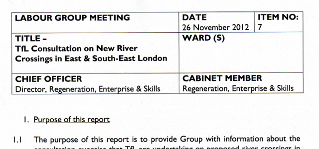Greenwich Council Labour group report, 26 November 2012