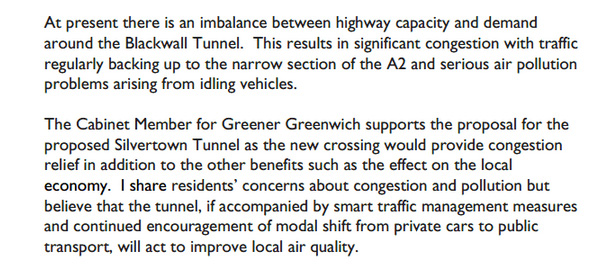 Harry Singh response to question about Silvertown Tunnel, Janaury 2013