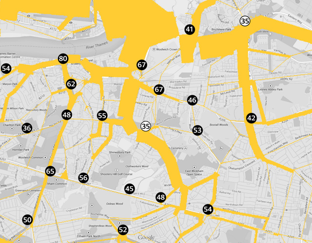 Gallions Reach pollution/congestion map