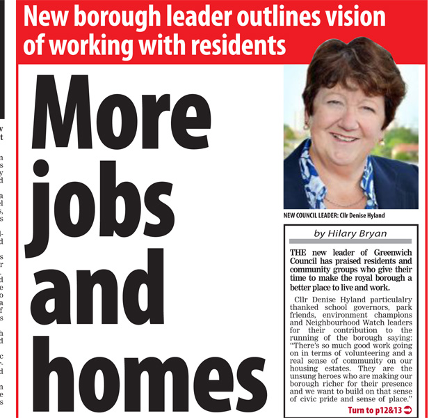 Denise Hyland's accession t the council leadership as reported by its weekly newspaper, Greenwich Time