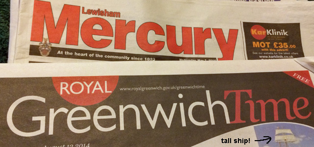 A Lewisham Mercury (couldn't find a Greenwich one) and Greenwich Time