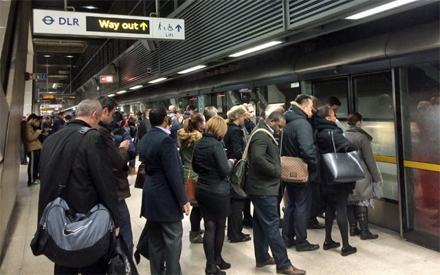 There are already big queues to get on eastbound Jubilee Line trains at Canary Wharf