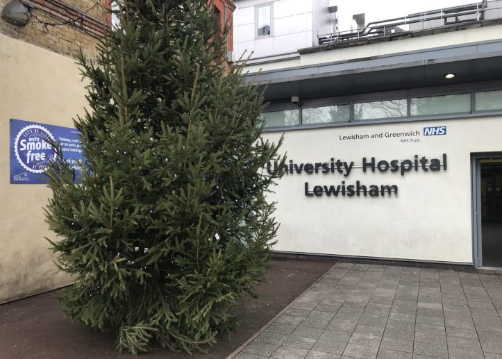 Lewisham Hospital and Christmas tree