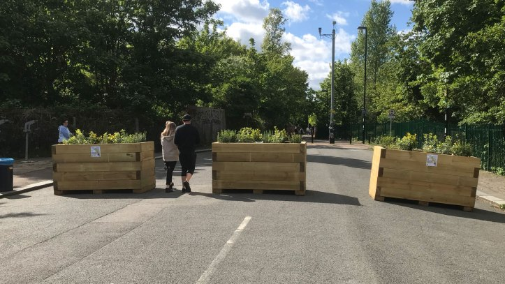 Eddystone Road in Brockley blocked by planters