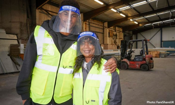 Marcus Rashford and Melanie Maynard at FareShare warehouse
