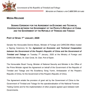 New cooperation between China and T&T with new agreement signed