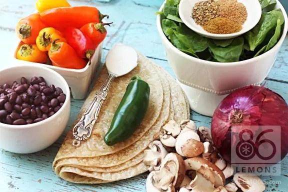 vegan quesadillas with veggies