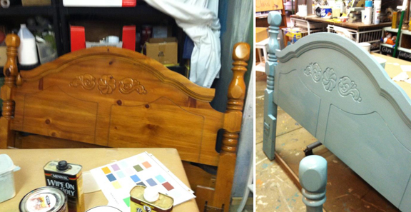 Bed before/after with Chalk Paint #anniesloan #chalkpaint  86lemons.com