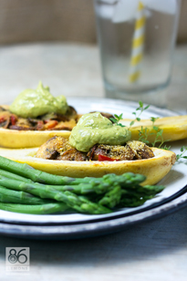 Stuffed Summer Squash (vegan, gf)