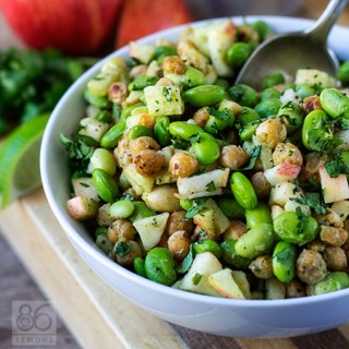 Virtual Vegan Potluck: Edamame-Chickpea Power Salad with Avocado-Lime Dressing (vegan, gf)