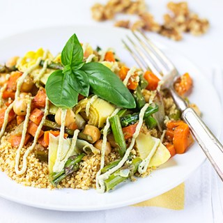"Veggie Walnut ""Couscous"" with Lemon-Basil Cream (v/gf)"