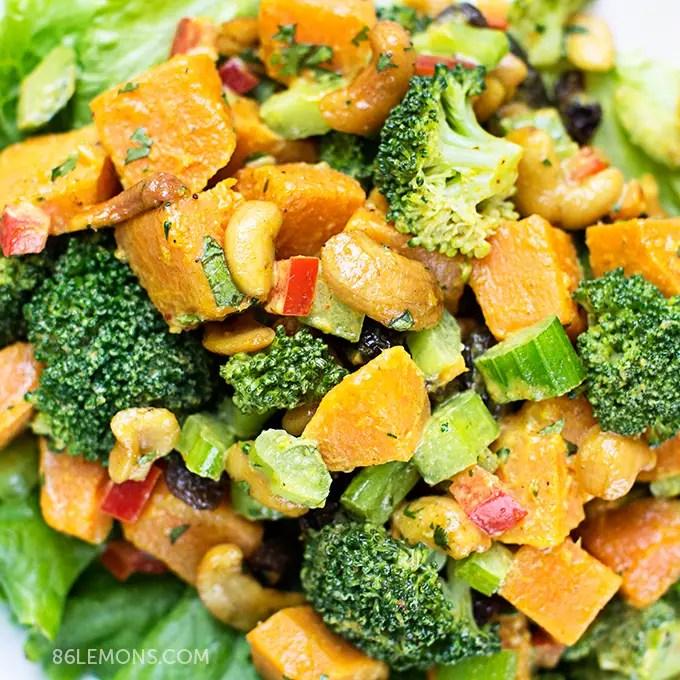 Curry Sweet Potato Salad with Broccoli and Cashews #vegan #gluten free (06)