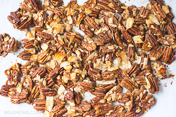 toasted coconut and walnut clusters for vegan kale salad recipe