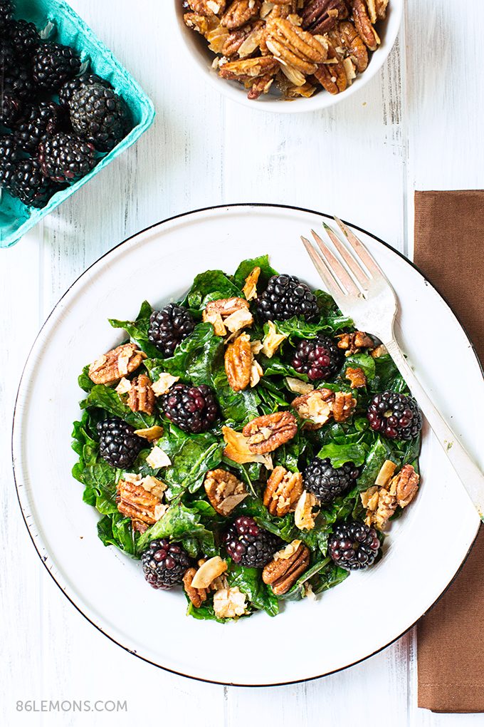 Kale Salad with Blackberries and Toasted Coconut-Pecan Clusters #vegan #glutenfree (2)