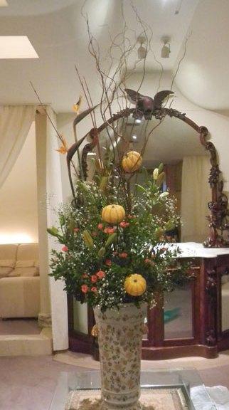 かぼちゃと柳のアレンジ
