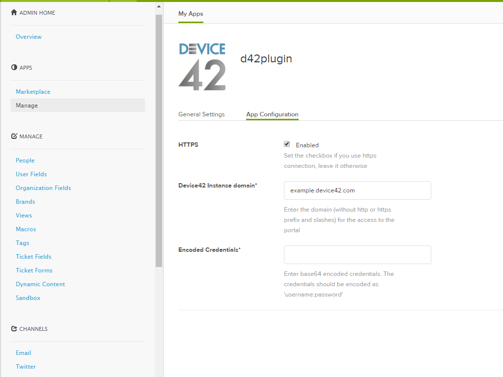 Device42 App Integration with Zendesk Support