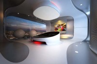 Futuristic bedroom design for luxury penthouse