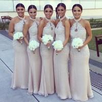 Halter Bridesmaid Dress,Lace Prom Dress,Maxi Prom Dress ...