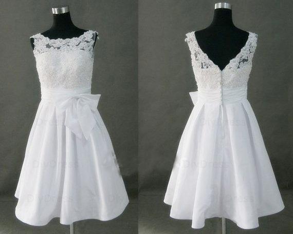 High Neck Princess White Lace Bodice Taffeta Skirt Short