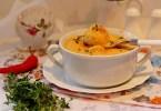 Суп молочный с клецками и тыквой