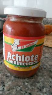Achiote Paste. This is a cooking condiment that can be used to season meats, pastas, and rice. Our daughter especially loves this and I often use this instead of spaghetti sauce. Achiote is a seed that comes from a tropical bush, it is used for it's coloring properties as well as it's sweet, peppery, smoky flavor.
