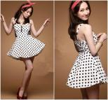 Cute White Gauze Splice Polka Dots Dress Luulla