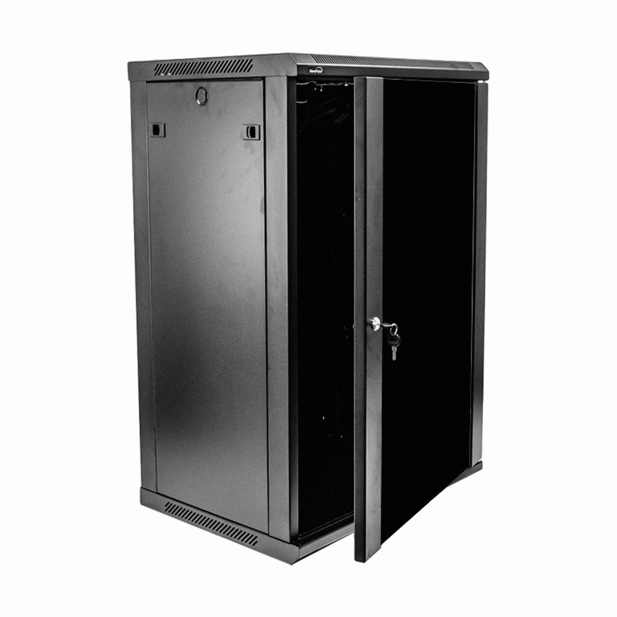 18U IT Wall Mount Network Server Data Cabinet Rack Glass Door Locking Lock  Key