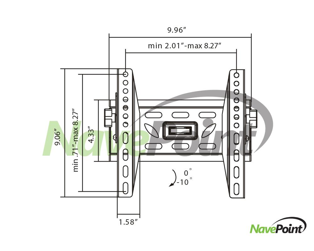 Wall Mount 19-Inch Element Electronics TV Bracket Tilt LED
