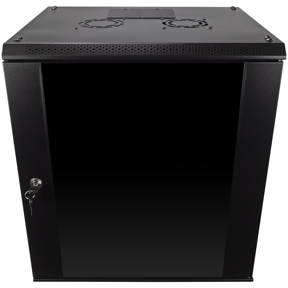 12U Wall Mount Network Server Data Cabinet Enclosure Rack Glass Door Lock w Fan  eBay