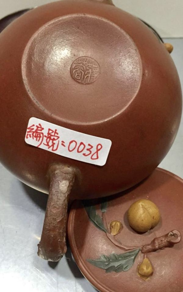 蔣蓉 紫砂陶藝大師 壽桃老朱泥紫砂茶壺(藏品壼)