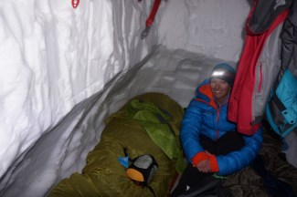 the snow cave and Jen!