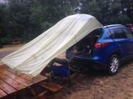 Makeshift breakfast tent