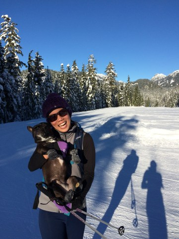 XC skiing with our loaner pup, Mila! Argus is thankful is not small enough to be unceremoniously picked up by me.