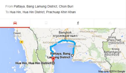 map to hua hin from pattaya