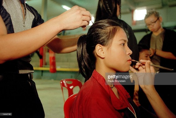Nongsu getting make up done before her Rangsit Fight - May 2000
