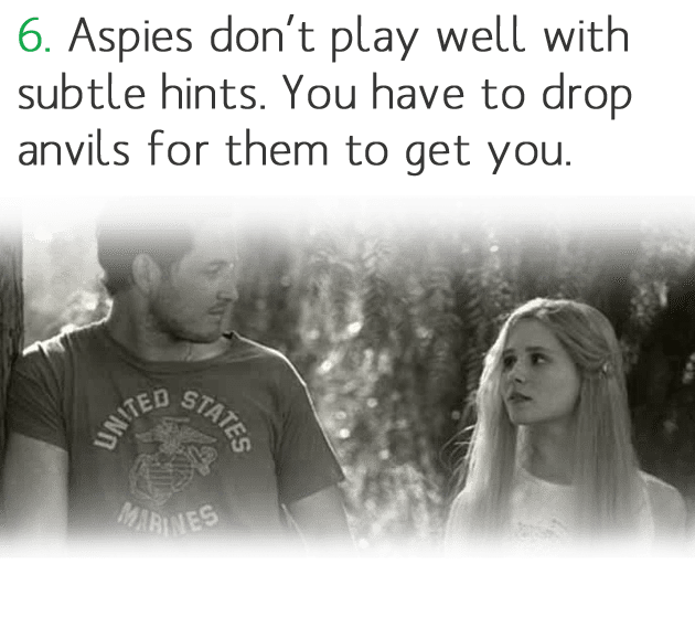 6. Aspies don't play well with subtle hints. You have to drop anvils for them to get you.