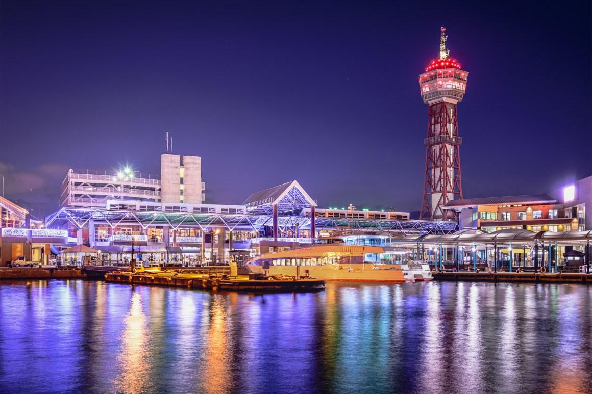 Fukuoka, Japan city skyline at the port.