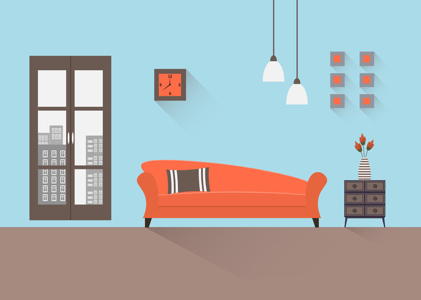 44701145 - interior of a living room. modern flat design illustration.